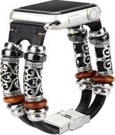 Bandje Leer Zwart Ibiza style geschikt voor Apple Watch 42-44 mm
