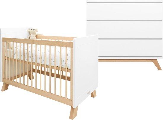 Bopita Lisa Lynn 2-Delige Babykamer - Bed - Commode - Wit/Naturel