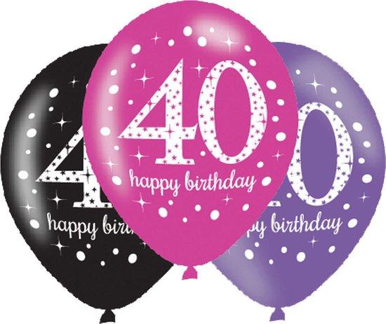 Ballonnen 40 Jaar Happy Birthday Roze 27,5cm 6 stuks