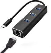 MMOBIEL USB Type C naar Ethernet 100 Mbps Adapter RJ45 Dongle voor Macbook - Mac - iMac - PC - 3 USB Poorten 3.0 - ZWART