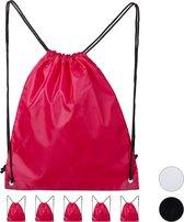 relaxdays gymtas - sporttas - 6 stuks - zwemtas - onbedrukt - effen gekleurd - rijgkoord roze