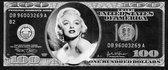 Dibond Marilyn Monroe in Dollarbiljet 120 x 50 cm Aluminium Geborsteld incl. luxe ophangframe