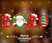 Raamsticker PVC 2020 Kerst met Sneeuwpop en Kerstman- Raamsticker - Raamdecoratie - Kerstmis