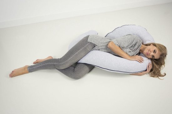 Zwangerschapskussen Nagui- Zijslaapkussen - Body pillow - Grijs - Afneembare hoes + opbergtas