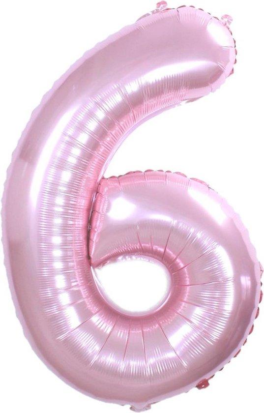 Folie Ballon Cijfer 6 Jaar Roze 86Cm Verjaardag Folieballon Met Rietje