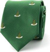 Kerststropdas kerstboom groen polyester