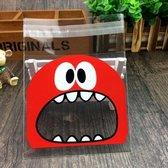 50 x Transparante Uitdeelzakjes voor traktatie, verjaardag, kinderfeestje - uitdeel zakjes - 10 x 10 cm (gesloten) - met sluiting - 50 stuks - Monster Rood