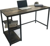 Bureau computertafel Stoer industrieel design met opbergplanken 120 x 60 x 75 cm