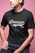 50 Jaar Awesome Since 1970 | Maat L | Vrouw Man Mannen | Verjaardagscadeau | Humor | Verjaardag Tekst cadeau kado | Heren dames Tip | Abraham Sarah