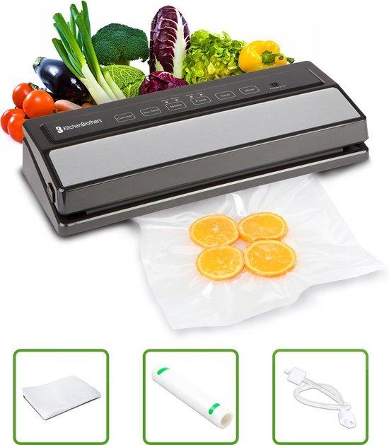KitchenBrothers Vacuüm Sealer Keuken Apparaat - Met Folie Rol (200 cm), Zakken (5x) en Vacuümslang - 4 Standen - Machine Geschikt voor Groente / Vlees / Vis / Wijn Pomp / Eten / Sous Vide etc. - Zwart