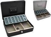 Metalen Geldkist 30 x 24 x 9 cm met euromuntsorteerplaat - 2 sleutels - 3 biljetcompartimenten - Zwart   Grijs