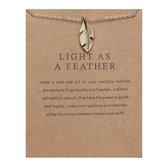 Light As A Feather Ketting - Veer hanger aan ketting - Geluksketting