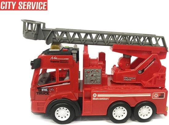 Afbeelding van Brandweerwagen met lichtjes en geluid + autoladder - City service brandweerauto (21cm) speelgoed