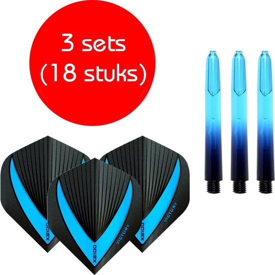 Dragon darts - Vignette – 3 sets (9 stuks) - short - darts shafts - aquablauw - inclusief 3 sets (9 stuks) stevige - Vista-X - darts flights
