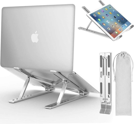 LURK® Compact ALU Verstelbare Ergonomische Laptop/notebook Standaard Universeel | Lichtgewicht laptop / tablet steun opvouwbare stand | 13, 14 , 15, 16 inch
