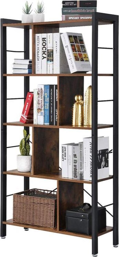 MIRA Home - Boekenrek - Vakkenkast - Vintage - Bruin/zwart - 74x30x154,5