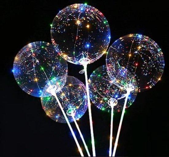 Plastic LED ballon met lange transparante stok  113 cm