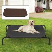 Honden Ligbed - Grote Hondenbed Stretcher - Hondenstretcher - inclusief 2 overtrekhoezen - XL - 110x68cm - Grijs en Koffie
