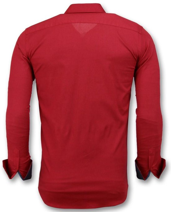 Tony Backer Heren Blanco Overhemden Italiaans - Slim Fit Blouse 3037 Rood Heren...