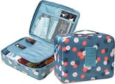 Travel Toiletbag - Reis Toilet Bag Make Up Organizer - Cosmetica Etui Tasje - Bloemen Patroon - Blauw