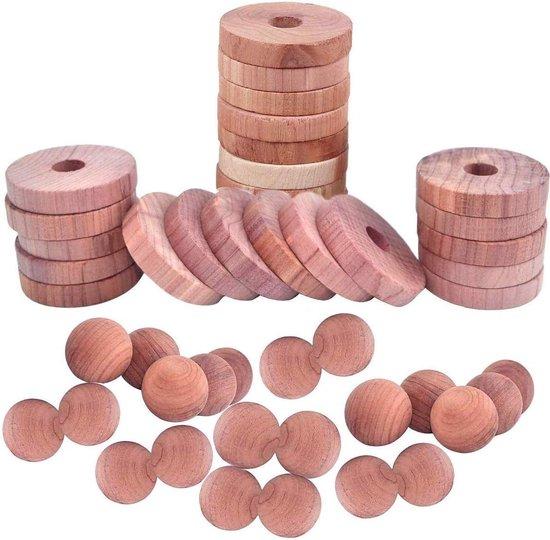 Ceder hout tegen motten – 30 stuks – anti mot ballen en ringen - Natuurlijk aromatisch cederhout – milieuvriendelijk en duurzaam – beter dan mottenballen - essentieel voor iedere garderobe, kast, schoenenkast, auto etc.