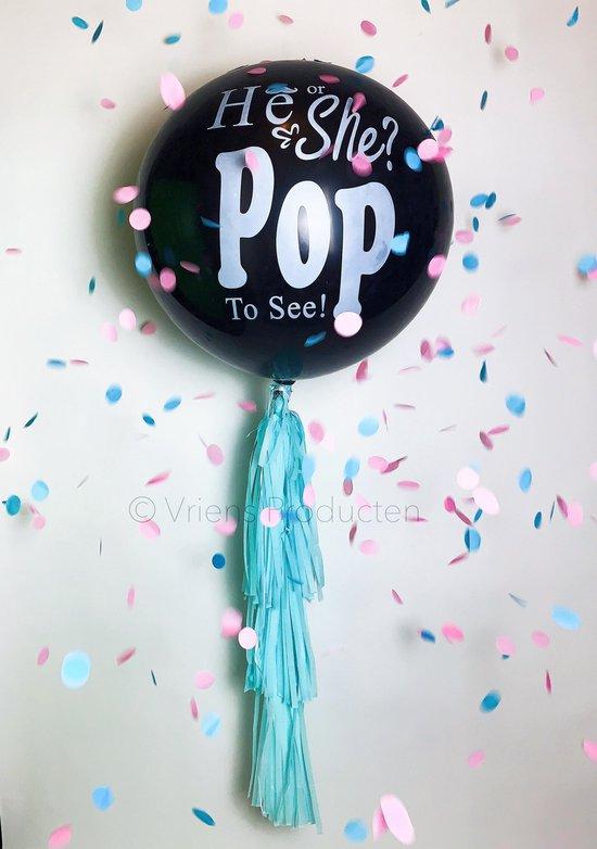 Gender Reveal Ballon XL 90CM - Versiering - Onthulling - Confetti - Jongen/Meisje - Gender Reveal Ideeën