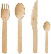 Pak van 200 stuks houten wegwerpbestek - 50 lepels, 50 vorken, 50 messen, 50 dessert-/ theelepels - Sterk en stevig - 100% natuurlijk hout, biologisch afbreekbaar, milieuvriendelijk – Chic alternatief voor kunststof