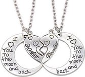 Zoëies® moeder dochter ketting 2-delig I love you to the moon and back
