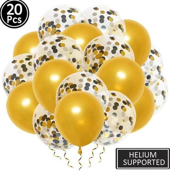 Luxe confetti ballonnen|goud/zwart/goud|20 stuks|Helium ballonnenset
