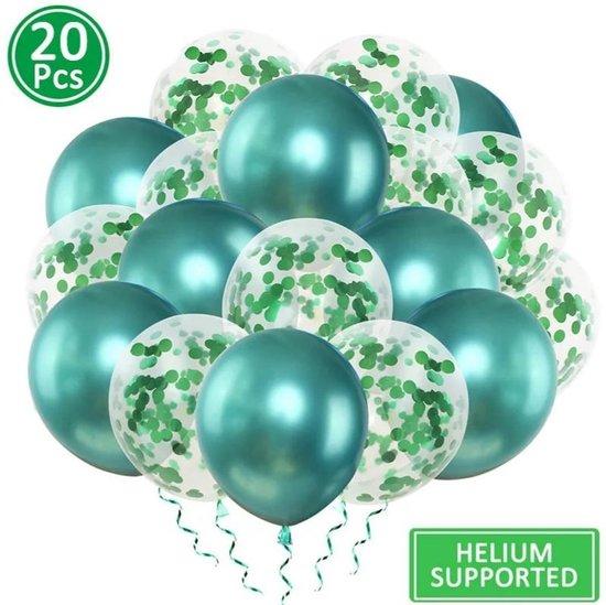 Luxe confetti ballonnen|metallic groen|20 stuks|Helium ballonnenset