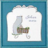 Borduurpakket Geboortetegel wieg: Johan