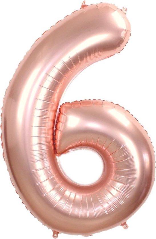 Folie Ballon Cijfer 6 Jaar Rosé Goud 86Cm Verjaardag Folieballon  Met Rietje