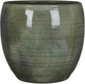 Mica Decorations lester ronde pot groen maat in cm: 31 x 33
