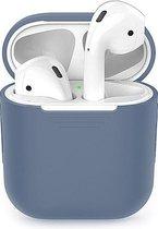 Afbeelding van Siliconen Bescherm Hoesje Cover Blauw-Grijs voor Apple AirPods 1+2 Case