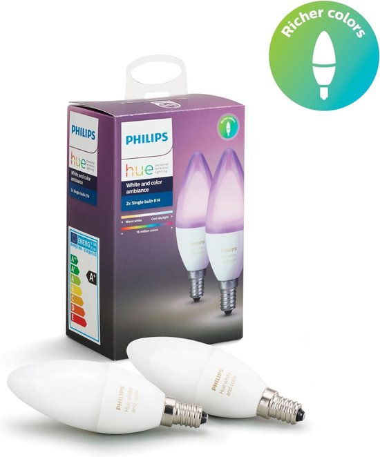Philips Hue E14 Kaarslamp Duopack - White and Color Ambiance - 2 lampen