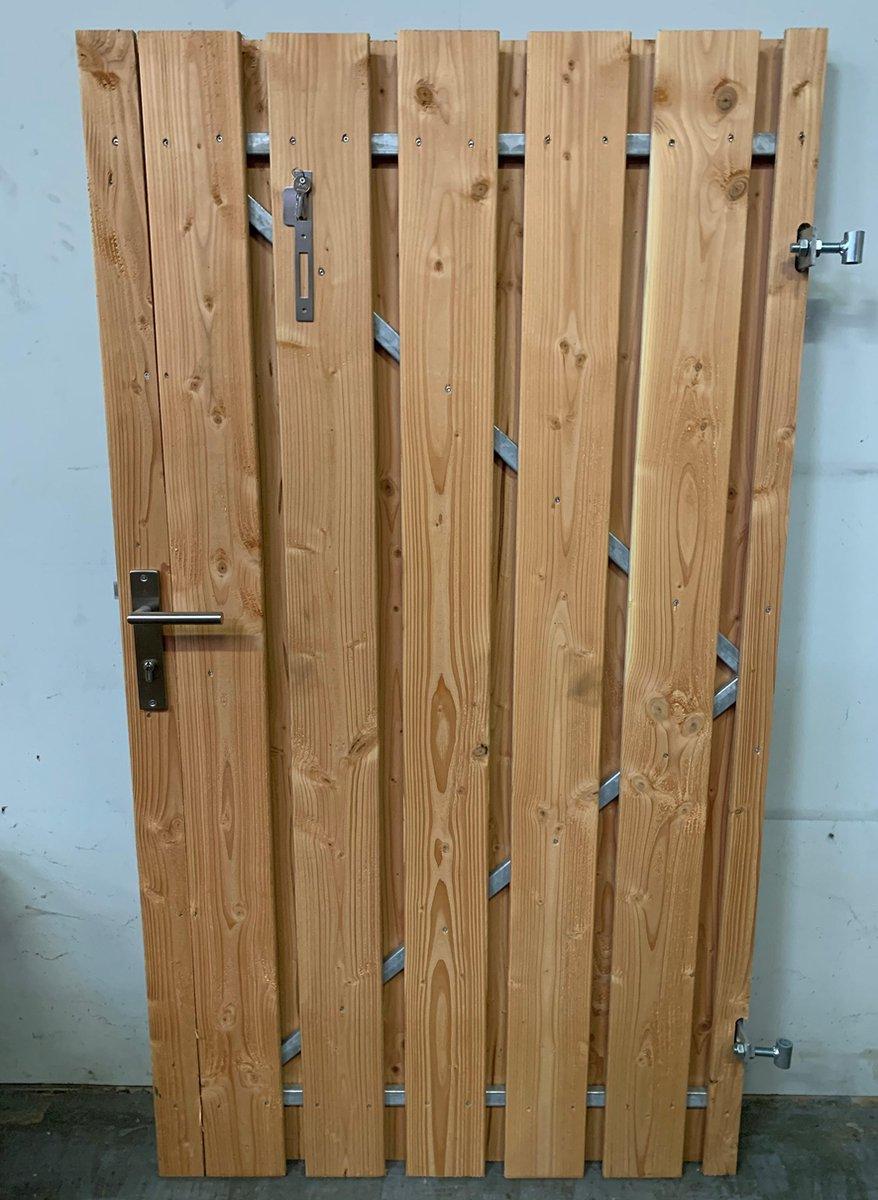 Douglas tuinpoort schuttingdeur incl cilinderslot en stalen frame 100 x 180 ( rechtsdraaiend)