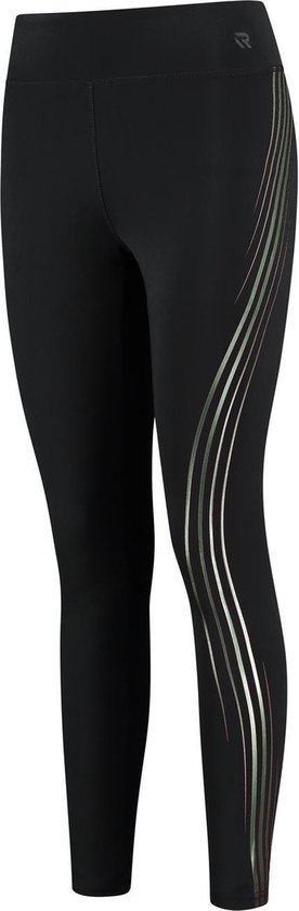 Redmax Dames training tight met metallic zijprint zwart/ groen - M