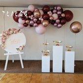 Luxe Ballonnen Boog Bordeaux Rood Roze Chrome Rose Gold - 72 Stuks - Confetti Helium Party Decoratie Thema Feest Ballonnenboog