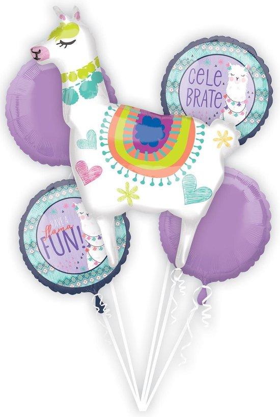 Ballonnen Bouquet Llama Fun 5 stuks