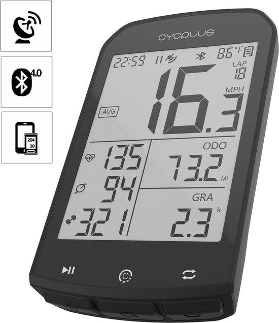 Cycplus GPS Fietscomputer | hoogtemeter | Horlogefunctie | Waterbestendig |  Hartslagfunctie | Caloriemeting | Temperatuur | Rondes
