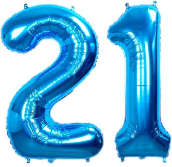 Folie Ballon Cijfer 21 Jaar Blauw 86Cm Verjaardag Folieballon Met Rietje