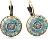 Betoverende oorbellen Yogini Semyco® - Mandala - Oorhangers - Yoga hanger - Spirituele sieraden - Meditatie - Goudkleurig - Blauw - Vrouwen cadeautjes romantisch - Moeder cadeau