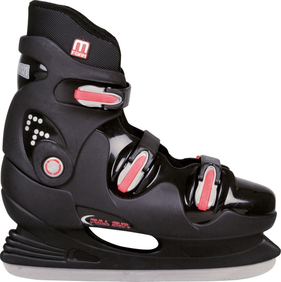 Nijdam 0089 IJshockeyschaats - Hardboot - Zwart/Rood - Maat 36
