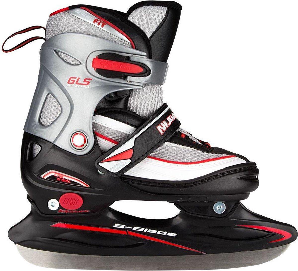 Nijdam IJshockeyschaats Junior Verstelbaar - Semi-Softboot - Zwart/Zilver/Rood - Maat 30-33