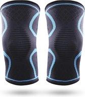Effectieve Kniebrace - 2 Stuks - Kniebandage - Knee Sleeves - Unisex - Maat L - Blauw