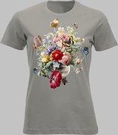 T-shirt V Bloemen en vlinders - Zandgrijs - L