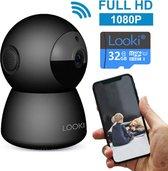 Looki® 1080P HD PTZ Wi-Fi Beveiligingscamera met 32GB SD kaart & Cloud Opslag - I3 Zwart – Video Indoor Bewakingscamera met App - IR Nachtzicht en Bewegingssensor – Two-Way Audio – Babyfoon met app voor iOS & Android - IP Camera
