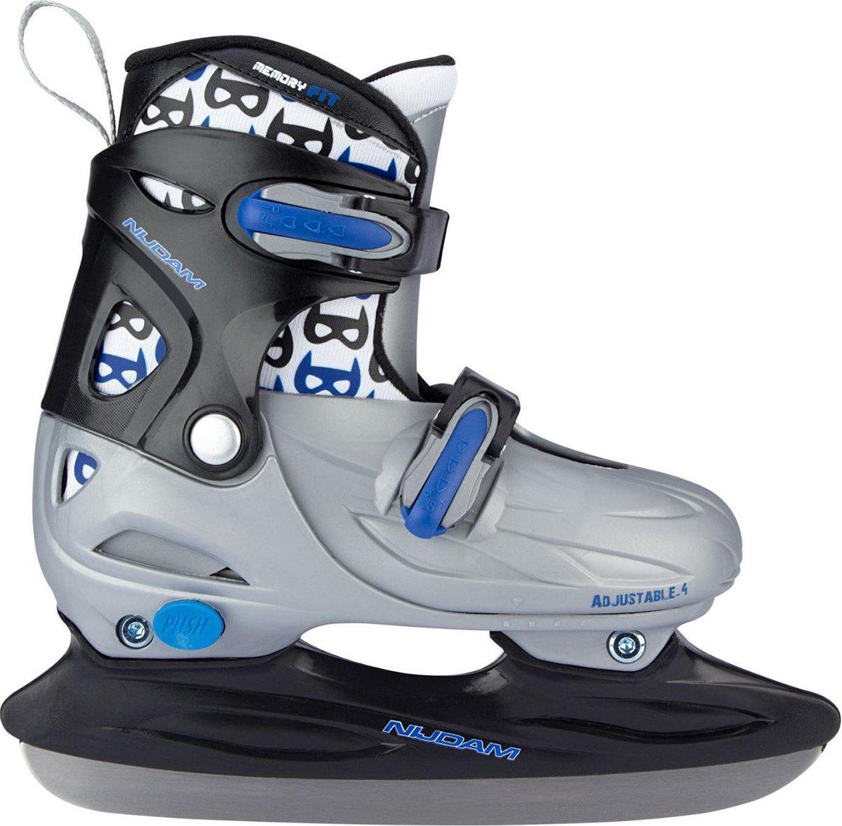 Nijdam IJshockeyschaats Junior Verstelbaar - Hardboot - Zwart/Blauw - Maat 30-33