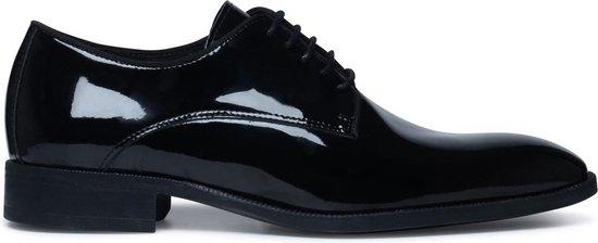 Manfield - Heren - Zwarte veterschoenen lakleer - Maat 42