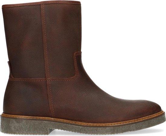 Manfield - Heren - Bruine leren boots - Maat 44